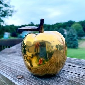 Life size brass Apple paperweight